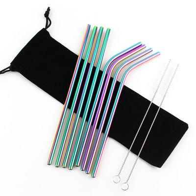 "RVS rietjes ""Rainbow"" familie set | 4 x recht - 4 x gebogen"